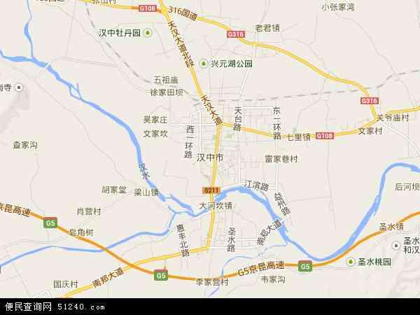 汉中市地图 - 汉中市卫星地图