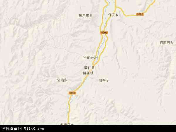 中国青海省黄南藏族自治州地图(卫星地图)