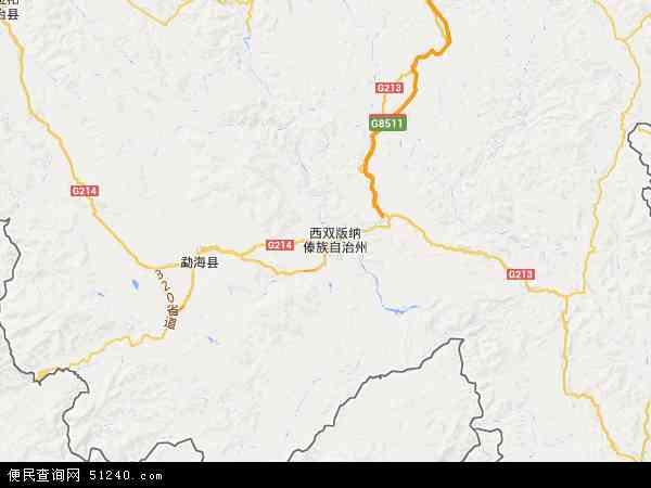 中国云南省西双版纳傣族自治州景洪市地图(卫星地图)