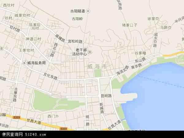 中国山东省威海市环翠区鲸园地图(卫星地图)