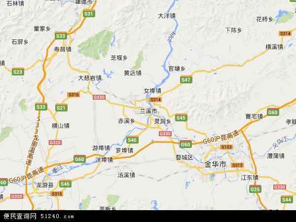 中国浙江省金华市兰溪市地图(卫星地图)