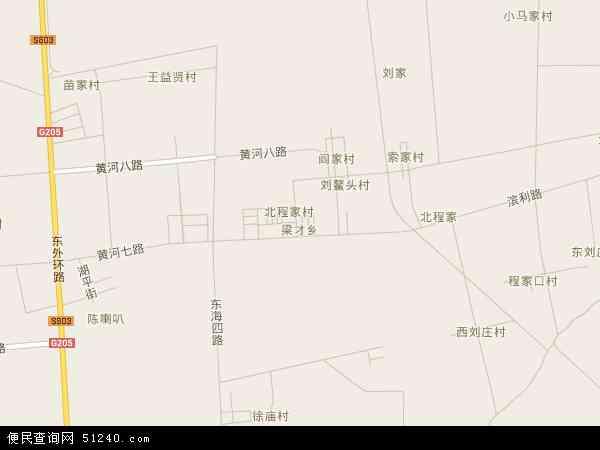 中国山东省滨州市滨城区梁才地图(卫星地图)