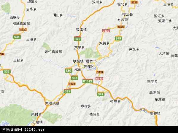 中国浙江省丽水市莲都区地图(卫星地图)图片