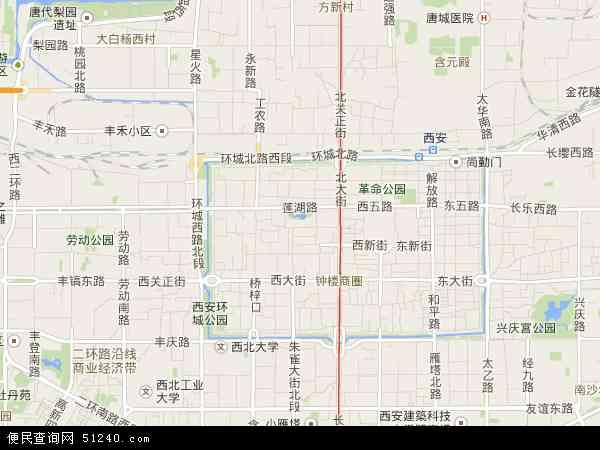 中国陕西省西安市莲湖区地图(卫星地图)