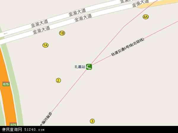 中国重庆市渝北区礼嘉地图(卫星地图)