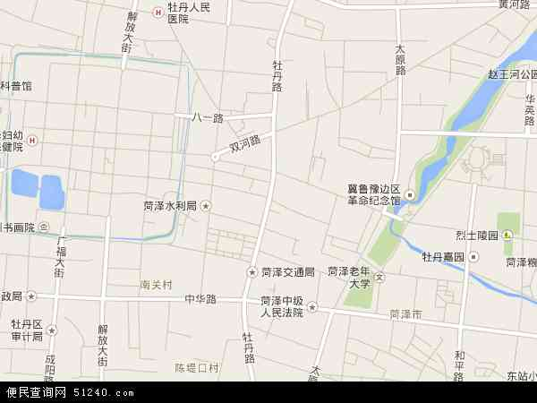 中国山东省菏泽市牡丹区牡丹地图(卫星地图)
