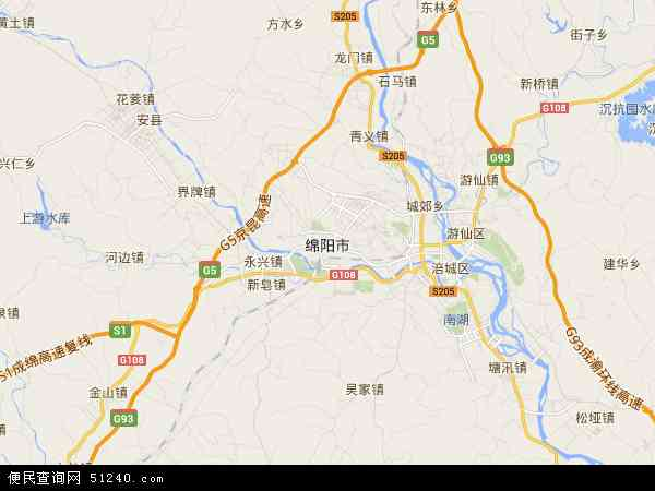 中国四川省绵阳市地图(卫星地图)