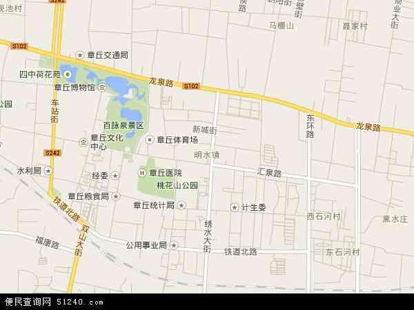 中国山东省济南市章丘市明水地图(卫星地图)
