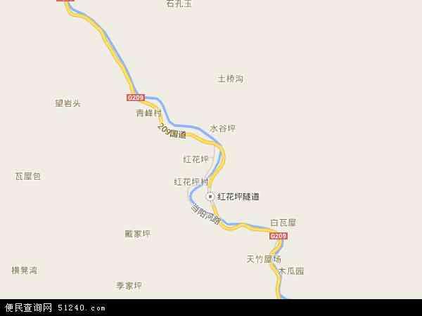 中国湖北省省直辖县级行政区划神农架林区木鱼镇地图(卫星地图)