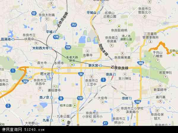 日本奈良地图(卫星地图)