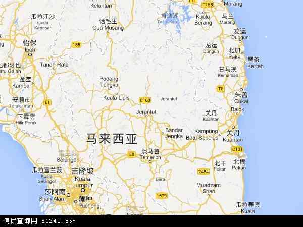 彭亨地图 - 彭亨电子地图 - 彭亨高清地图 - 2017年彭亨地图