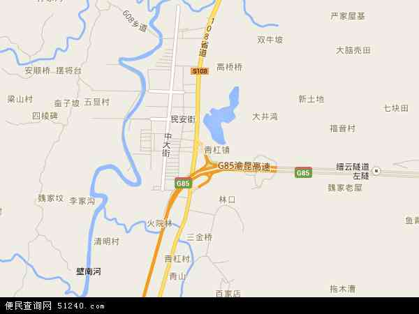 中国重庆市璧山县青杠地图(卫星地图)