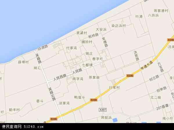 中国江苏省苏州市吴江区七都镇地图(卫星地图)图片