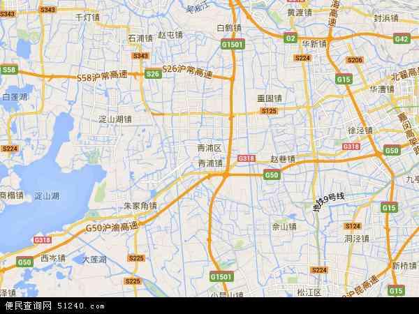 中国上海市青浦区地图(卫星地图)