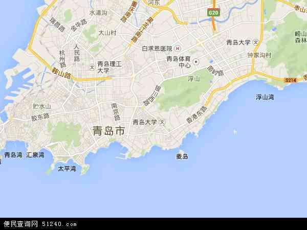 中国山东省青岛市市南区地图(卫星地图)