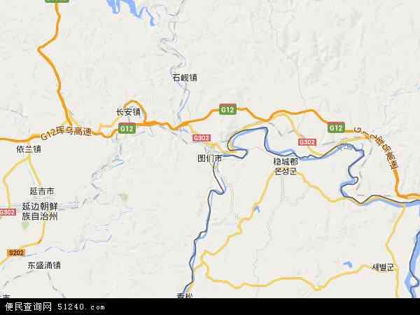 中国吉林省延边朝鲜族自治州图们市地图(卫星地图)