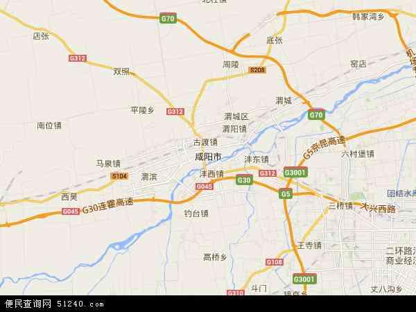 中国陕西省咸阳市地图(卫星地图)