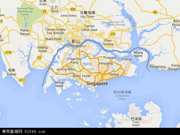 新加坡地图 - 新加坡卫星地图