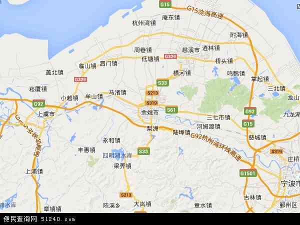 中国浙江省宁波市余姚市地图(卫星地图)