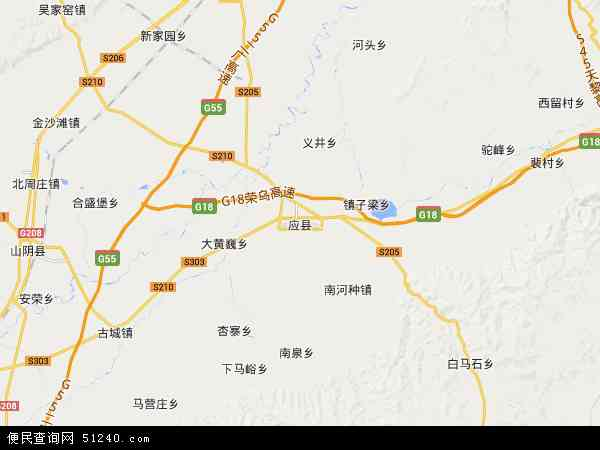 应县地图 - 应县卫星地图
