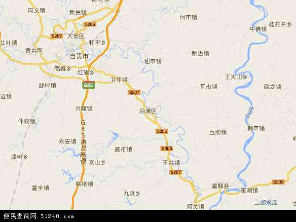 中国四川省自贡市沿滩区地图(卫星地图)