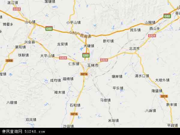 中国广西壮族自治区玉林市玉州区地图(卫星地图)课外知识初中生图片