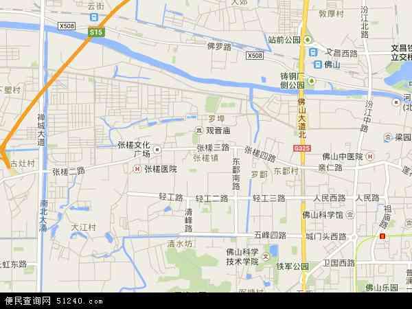 中国广东省佛山市禅城区张槎地图(卫星地图)图片