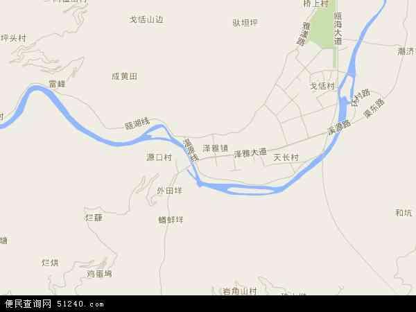 中国浙江省温州市瓯海区泽雅镇地图(卫星地图)