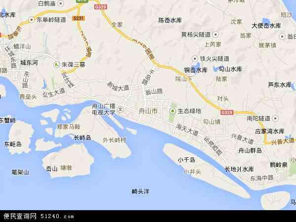 中国浙江省舟山市地图(卫星地图)