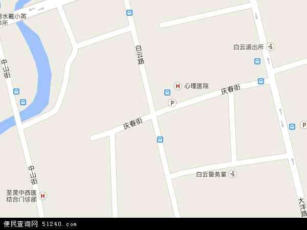 中国浙江省丽水市莲都区白云地图(卫星地图)图片