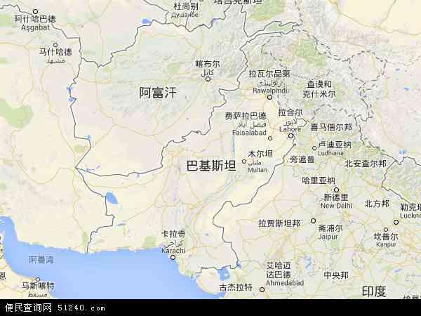 巴基斯坦地图 - 巴基斯坦卫星地图