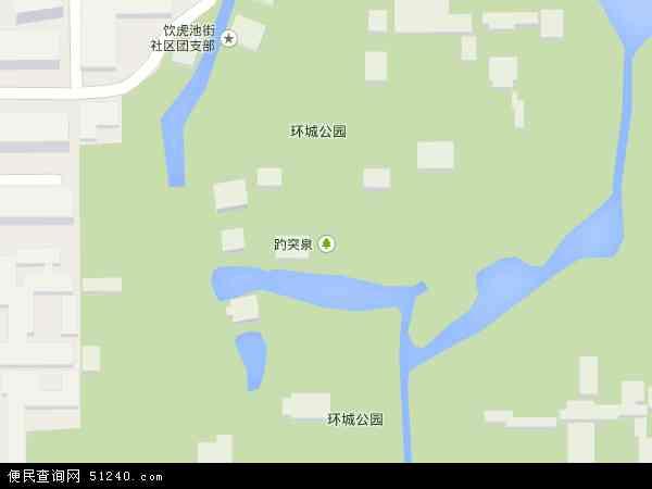 中国山东省济南市历下区趵突泉地图(卫星地图)