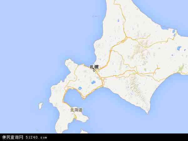 北海道地图 - 北海道卫星地图