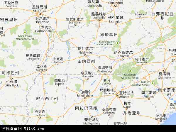 美国田纳西布利斯托地图(卫星地图)