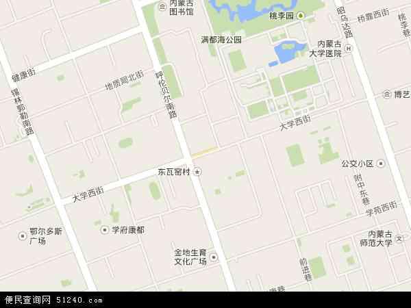 中国内蒙古自治区呼和浩特市赛罕区大学西路地图(卫星地图)图片