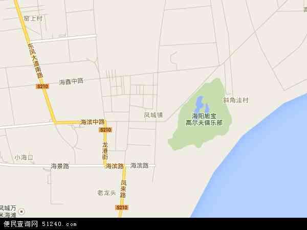 中国山东省烟台市海阳市凤城地图(卫星地图)