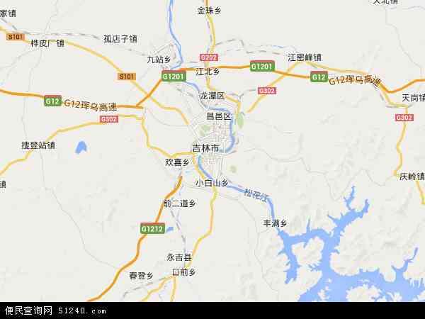中国吉林省吉林市丰满区地图(卫星地图)