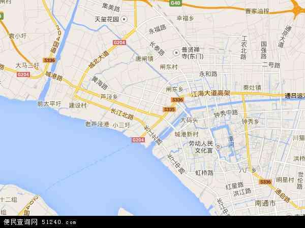 南通市港闸区行政地图_南通市港闸区地图