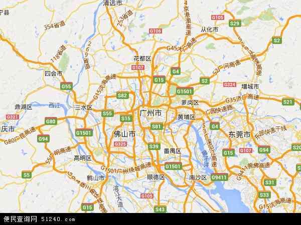 中国广东省广州市地图(卫星地图)