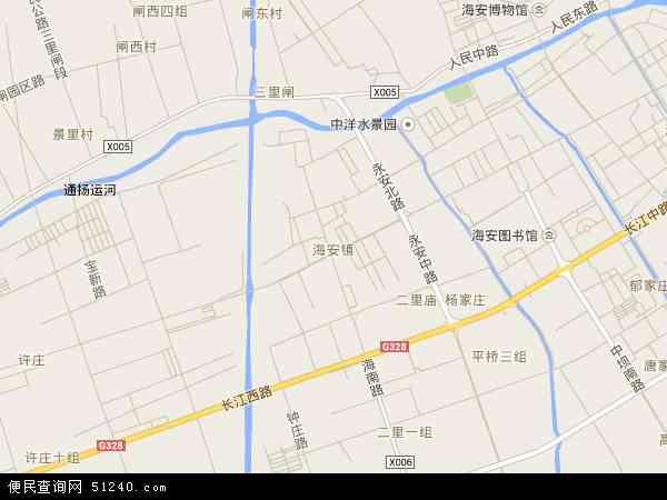 中国江苏省南通市海安县海安镇地图(卫星地图)