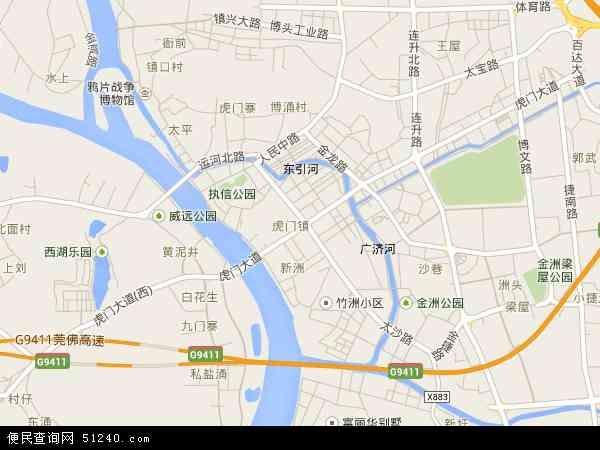 中国广东省东莞市虎门镇地图(卫星地图)