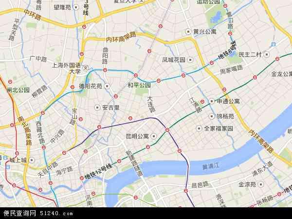 虹口区地图 - 虹口区卫星地图