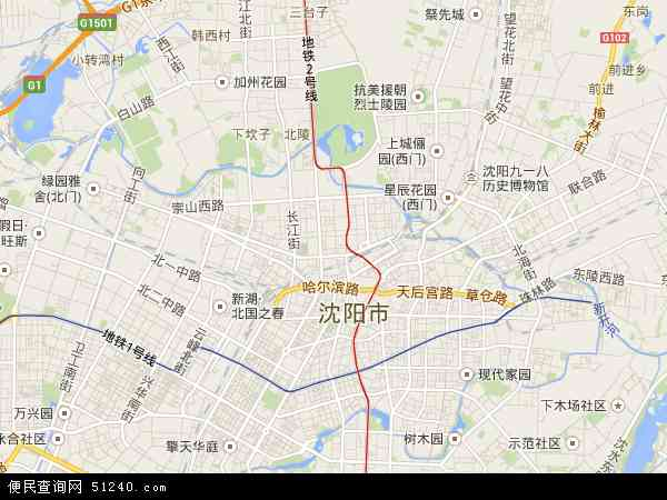 中国辽宁省沈阳市皇姑区地图(卫星地图)