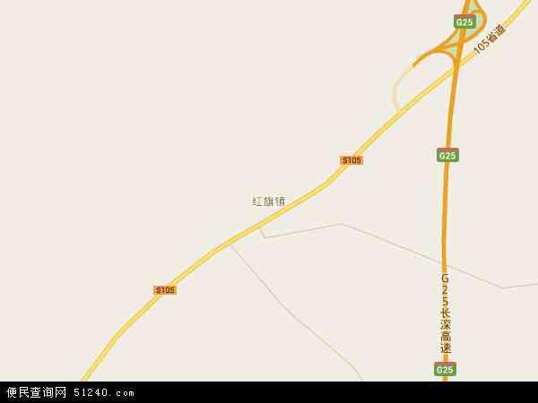 中国吉林省四平市双辽市红旗地图(卫星地图)