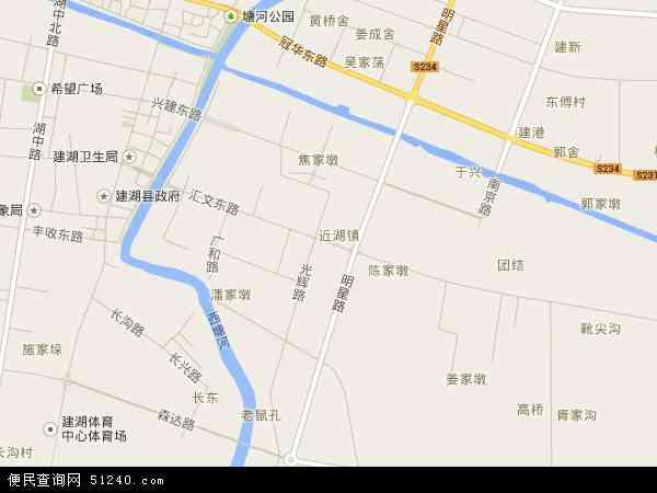 中国江苏省盐城市建湖县近湖镇地图(卫星地图)