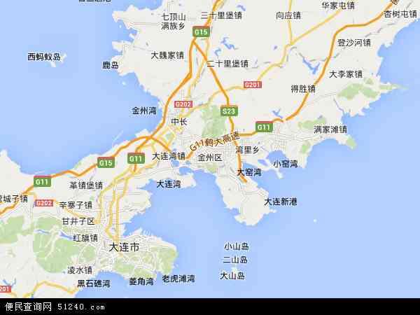 中国辽宁省大连市金州区地图(卫星地图)