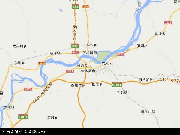 中国黑龙江省佳木斯市郊区地图(卫星地图)