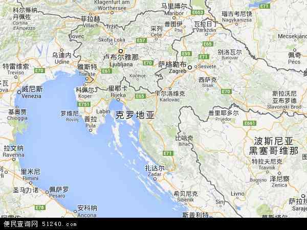 克罗地亚地图 - 克罗地亚卫星地图