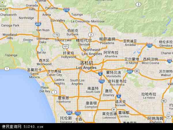 洛杉矶地图+-+洛杉矶卫星地图