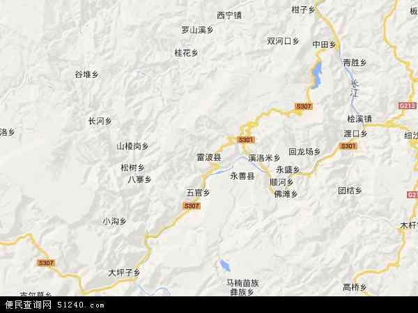 雷波县地图 - 雷波县卫星地图